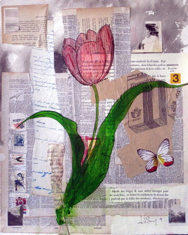 Cigarettes Butterfly Tulip Collage Fragments Jpg