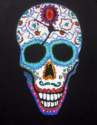 Decorated Matt Bullet Hole Skull Jpg