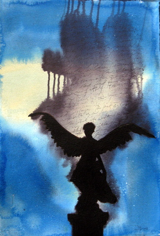 Small Blue Black Roman Angel Writing Jpg